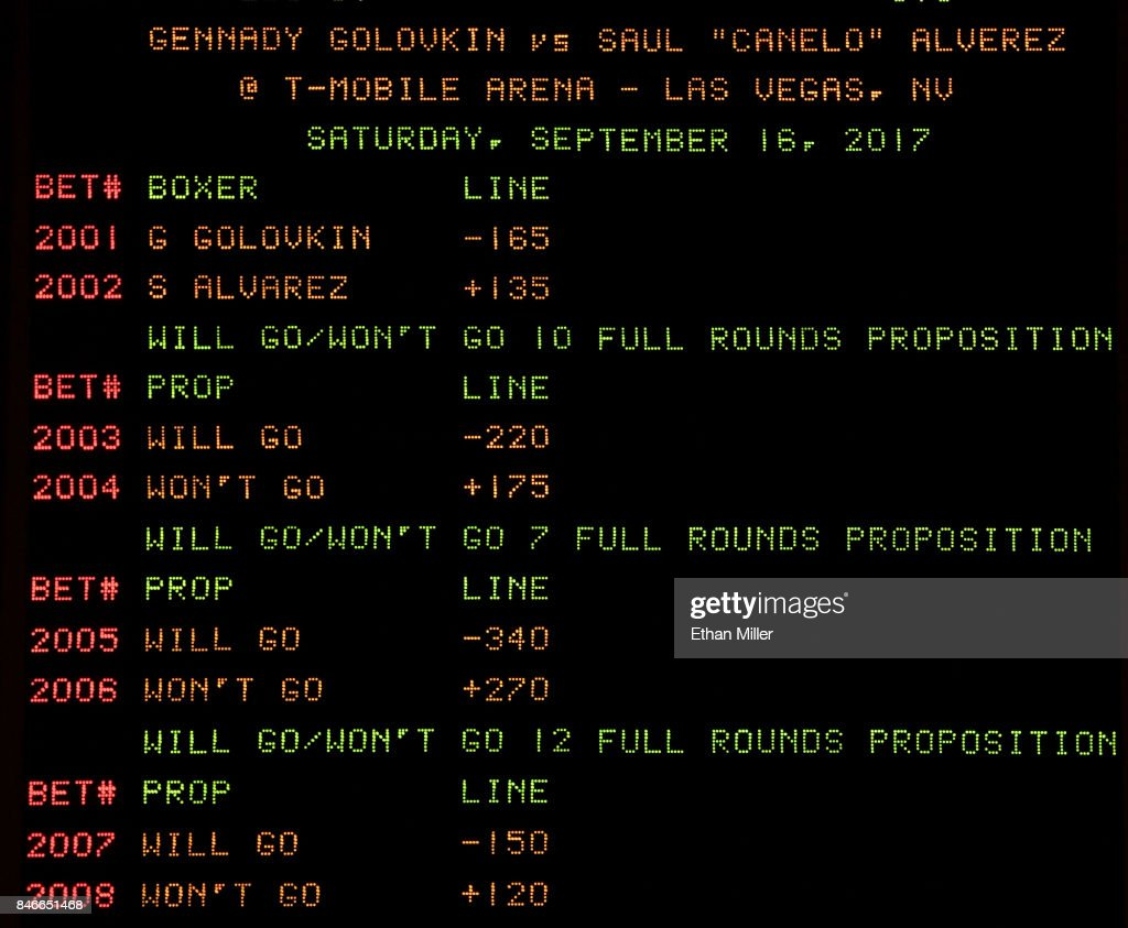 The sports book at MGM Grand Hotel & Casino displays the betting line and proposition bets for the upcoming fight between WBC, WBA and IBF middleweight champion Gennady Golovkin and Canelo Alvarez on September 12, 2017 in Las Vegas, Nevada. Golovkin will defend his titles against Alvarez at T-Mobile Arena on September 16 in Las Vegas.
