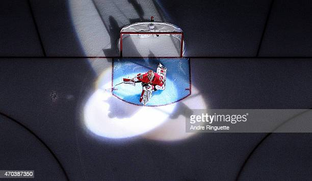 The spot lights shine on Craig Anderson of the Ottawa Senators as he stretches in his crease during player introductions prior to playing against the...