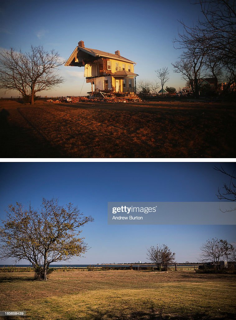 The iconic Princess Cottage, built in 1855, remains standing after being ravaged by flooding caused by Superstorm Sandy November 21, 2012 in Union Beach, New Jersey. (Photo by Mario Tama/Getty Images) UNION BEACH, NJ - OCTOBER 22: (bottom) The spot was the Princess Cottage used to be is shown October 22, 2013 in Union Beach, New Jersey. Hurricane Sandy made landfall on October 29, 2012 near Brigantine, New Jersey and affected 24 states from Florida to Maine and cost the country an estimated $65 billion.