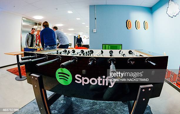 The Spotify logo is pictured on a football table placed in a playroom at the company headquarters in Stockholm on February 16 2015 AFP PHOTO/JONATHAN...