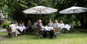 The spouses of the Leaders of the G8 countries pose in the park of Schloss Schlitz on June 07 2007 in Hohen Demzin Germany Prof James W Vaubel...