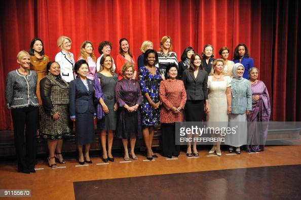 The spouses of the visiting G20 leaders wife of Thai Prime Minister Abhisit Vejjajiv unknown Dr Pimpen Vejjajiva wife of EU Commission Chairman Jose...