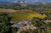 The sprawling Chalk Hill Estate Winery owned by global vintner Bill Foley is viewed from the air on October 13 in Santa Rosa California Sonoma County...