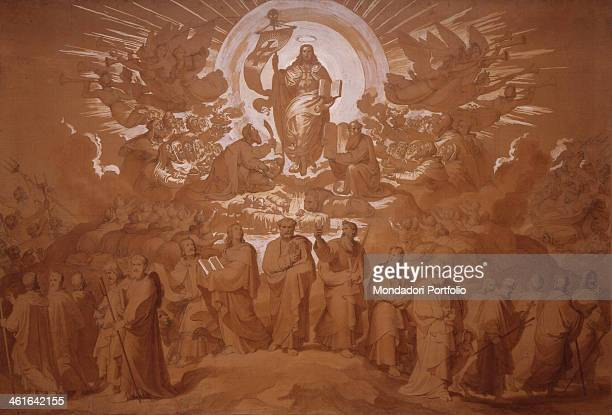 The Spreading of Christianity or The Mission of the Apostles by Tommaso Minardi 1848 1858 19th century black pencil watercolor white lead and ochra...