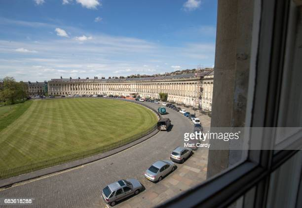 The spring sunshine illuminates part of the facade of the Royal Crescent on April 19 2017 in Bath England Designed by the architect John Wood the...