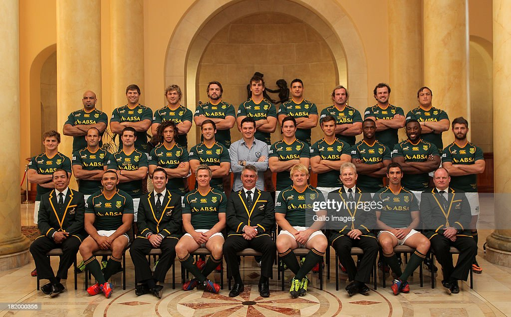 The Springbok team pose for a photo during the South African National rugby team photo and press conference at Southern Sun Cullinan Hotel on September 27, 2013 in Cape Town, South Africa.