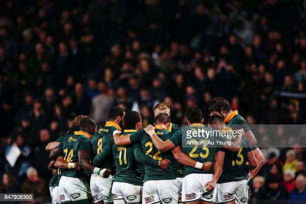 The Springboks form a huddle after the Rugby Championship match between the New Zealand All Blacks and the South African Springboks at QBE Stadium on...