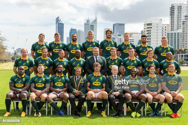 The Springboks pose for their team photo before the South Africa Springboks Captain's Run at Langley Park on September 8 2017 in Perth Australia