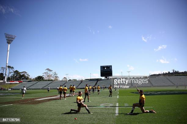 The Springboks warm up during the South Africa Springboks Captain's Run at QBE Stadium on September 15 2017 in Auckland New Zealand