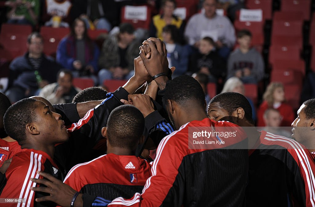 The Springfield Armor huddle together prior to their season opening game against the Canton Charge at the Canton Memorial Civic Center on November 24, 2012 in Canton, Ohio.