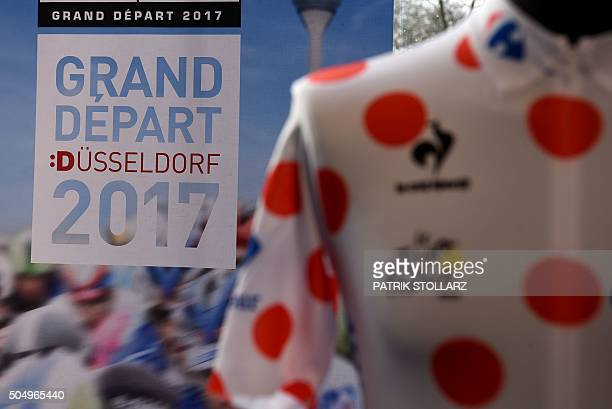 The sprint jersey of the Tour de France is seen during a press conference in Duesseldorf on January 14 2015 to present the 2017 edition of the Tour...