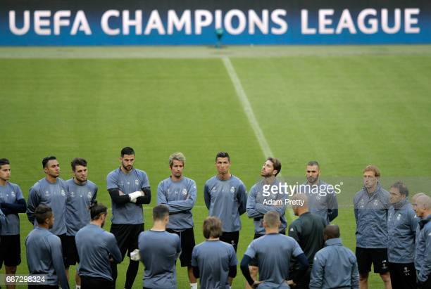 The squad gather during a Real Madrid training session ahead of their UEFA Champions League QuarterFinal match against Bayern Muenchen at Allianz...