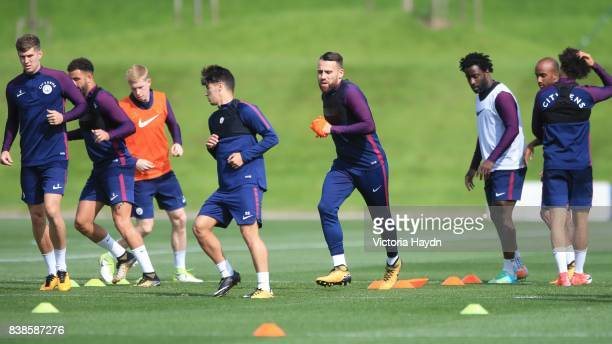 The squad warming up during training at Manchester City Football Academy on August 24 2017 in Manchester England