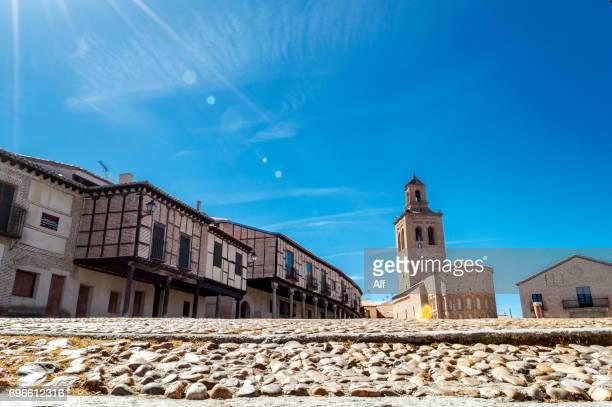 The square of the villa (Plaza de la Villa) in Arevalo and the church of Santa María la Mayor, , Avila, Spain
