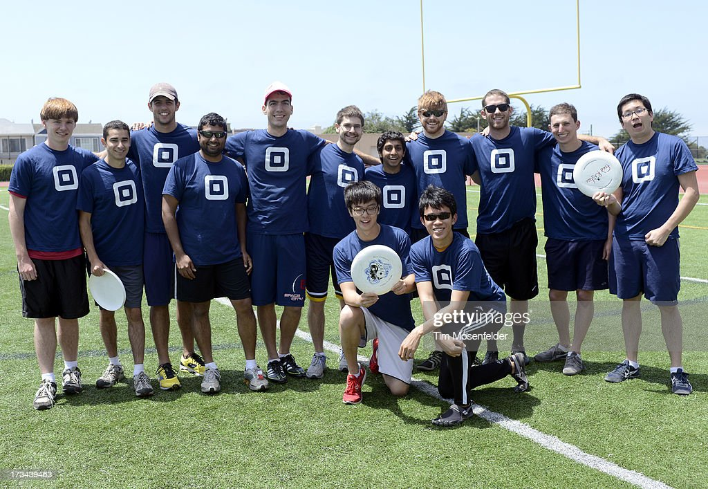 The Square team poses at the Founder Institute's Silicon Valley Sports League on July 13, 2013 in San Francisco, California.