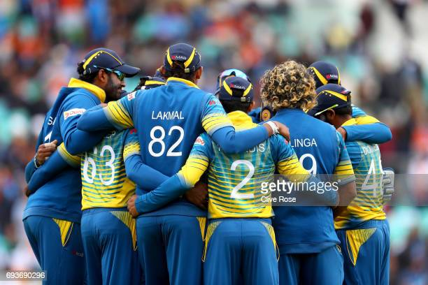 The Sri Lanka team huddle prior to the start of the ICC Champions trophy cricket match between India and Sri Lanka at The Oval in London on June 8...