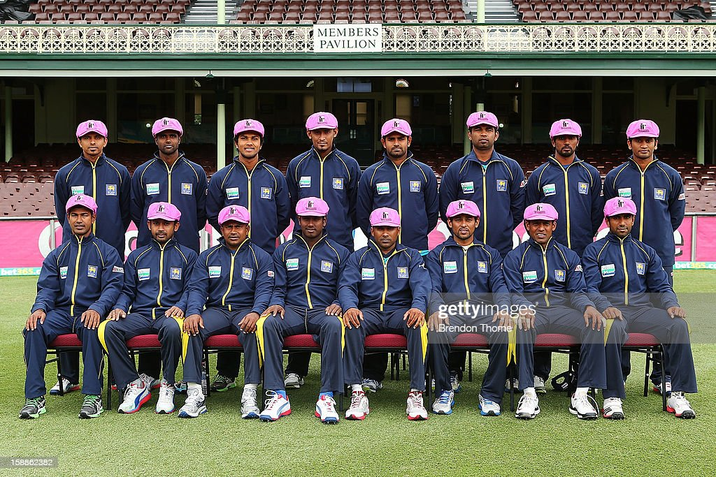 The Sri Lankan Mens Test team poses for a photograph following an Australian nets session at Sydney Cricket Ground on January 2, 2013 in Sydney, Australia.