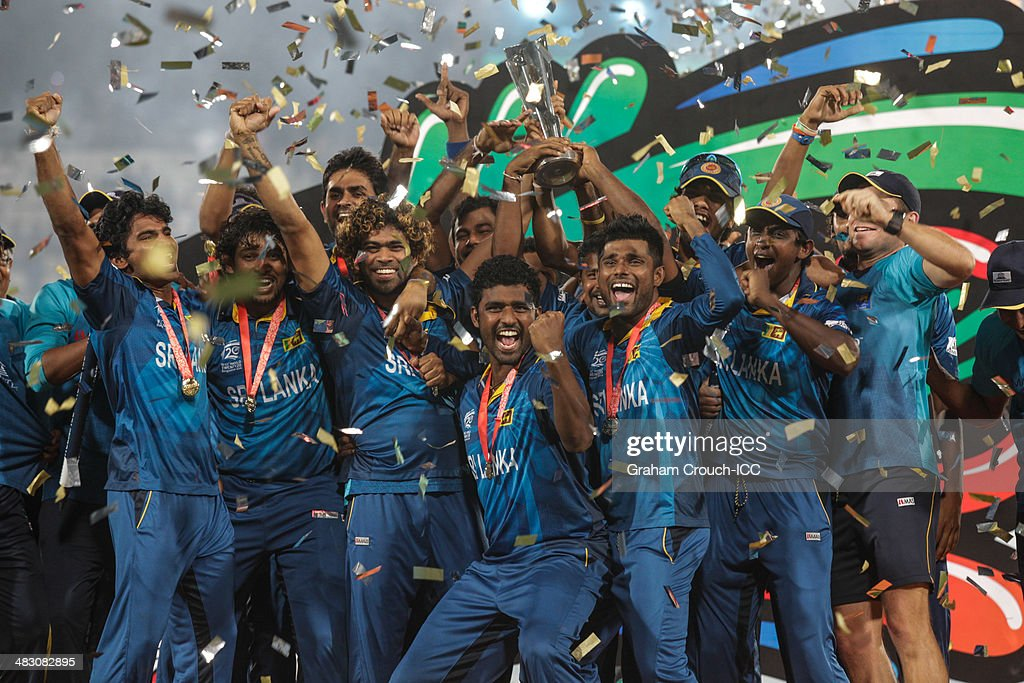 The Sri Lankan team are presented with the trophy following their victory in the India v Sri Lanka ICC World Twenty20 Bangladesh 2014 Final at Sher-e-Bangla Mirpur Stadium on April 6, 2014 in Dhaka, Bangladesh.
