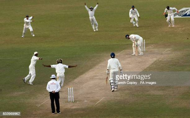 The Sri Lankan team celebrate after England's Matthew Hoggard is bowled by Lasith Malinga to win the First Test at the Asgiriya International Stadium...