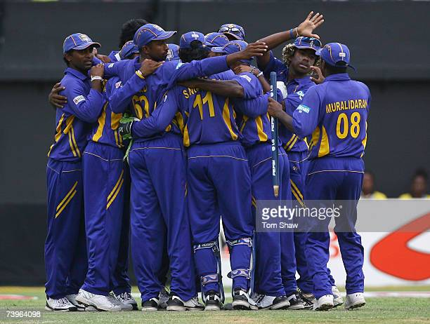 The Sri Lankan team celebrate beating New Zealand duing the ICC Cricket World Cup Semi Final match between Sri Lanka and New Zealand at Sabina Park...