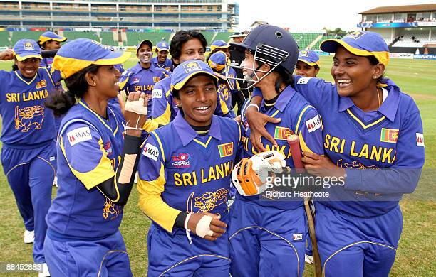 The Sri Lankan team celebrate victory during the ICC Women's Twenty20 World Cup match between Pakistan and Sri Lanka at The County Ground on June 12...
