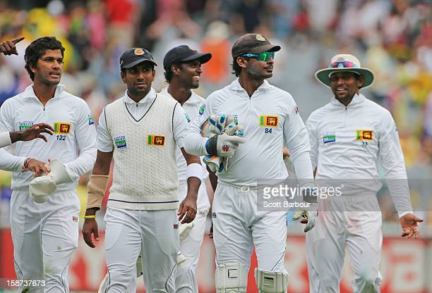 The Sri Lankans leaves the field at the end of the days play during day two of the Second Test match between Australia and Sri Lanka at Melbourne...