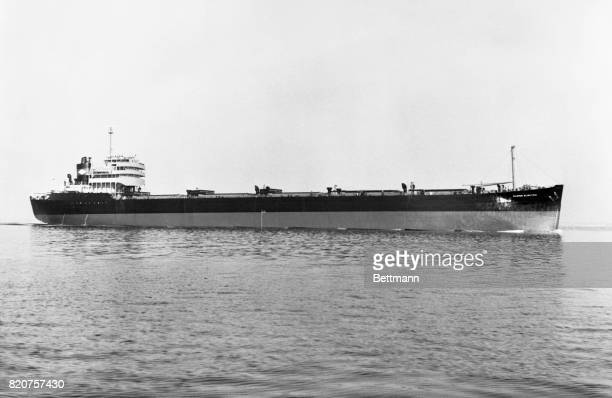 """The SS Marine Electric a onetime T2 tanker that was """"jumboized"""" and converted into a collier at Bethlehem Steel company's Boston shipyard sailed out..."""