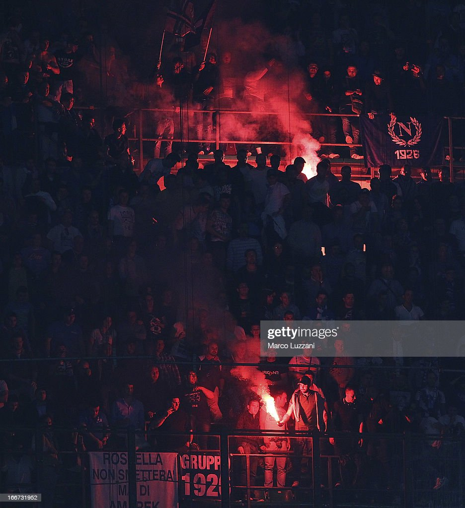 The SSC Napoli fans show their support during the Serie A match between AC Milan and SSC Napoli at San Siro Stadium on April 14, 2013 in Milan, Italy.