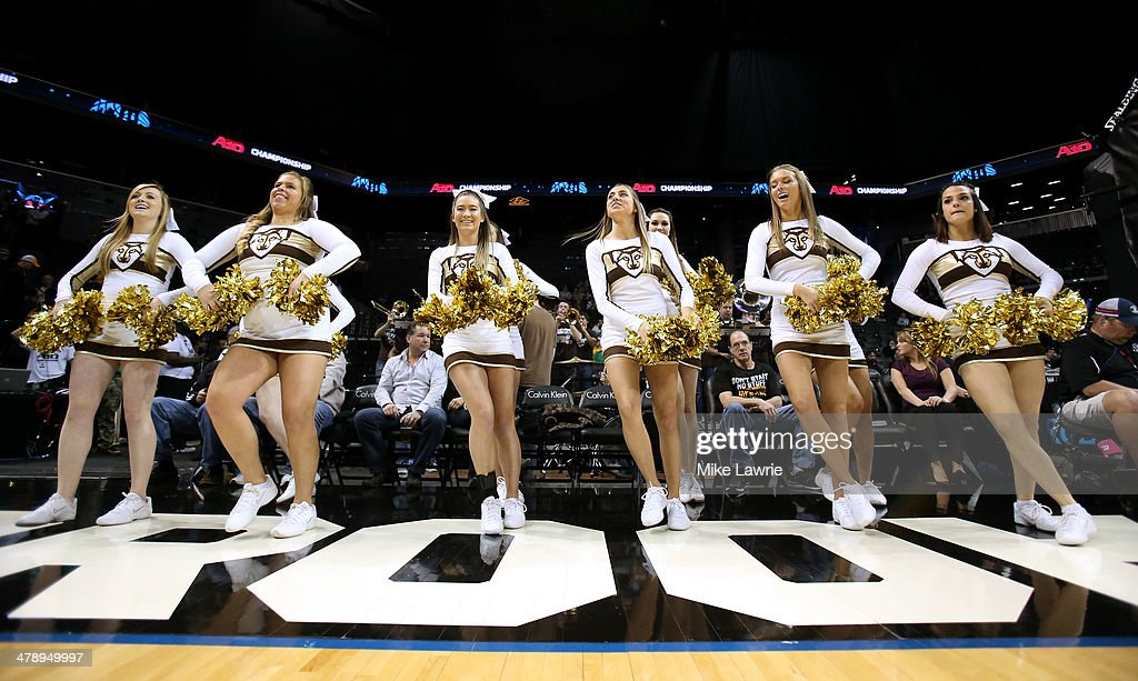The St Bonaventure Bonnies cheerleaders perform in the game against the Saint Joseph's Hawks during the Semifinals of the 2014 Atlantic 10 Men's...