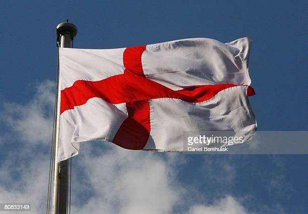 The St George flag is seen flying above 10 Downing St on April 23 2008 in London England This is the first time the St George flag has been raised in...