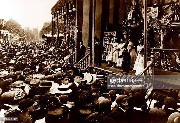 1909 The St Giles Fair in Oxford England Vast crowds are pictured enjoying all the fun of the fair