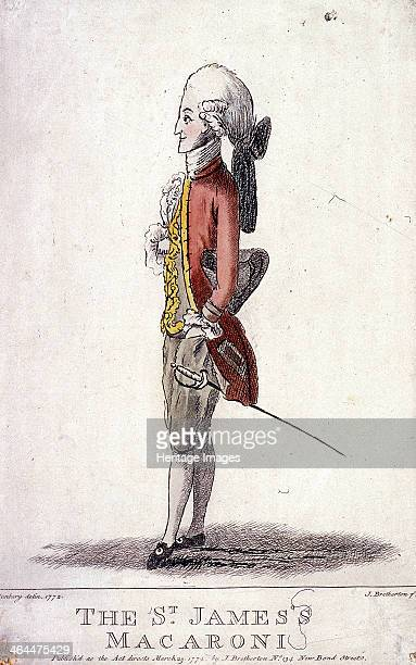 'The St James's Macaroni' 1772 a man in profile to our left His costume includes an immense knot at the back of his head and horizontal curls over...