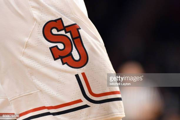 The St John's Red Storm logo on a pair of shorts during the Big East Basketball Tournament First Round game against the Georgetown Hoyas at Madison...