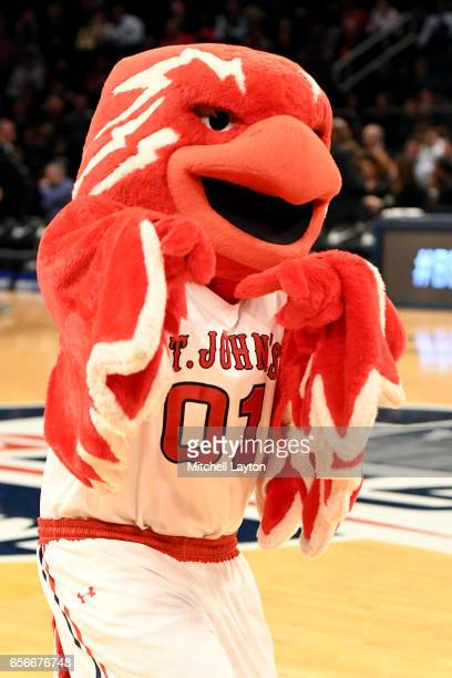 The St John's Red Storm mascot on the floor during the Big East Basketball Tournament First Round game against the Georgetown Hoyas at Madison Square...