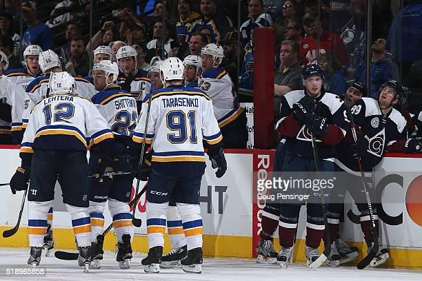 The St Louis Blues celebrate a goal by Colton Parayko of the St Louis Blues to take a 30 lead in the first period as Matt Duchene Shawn Matthias and...