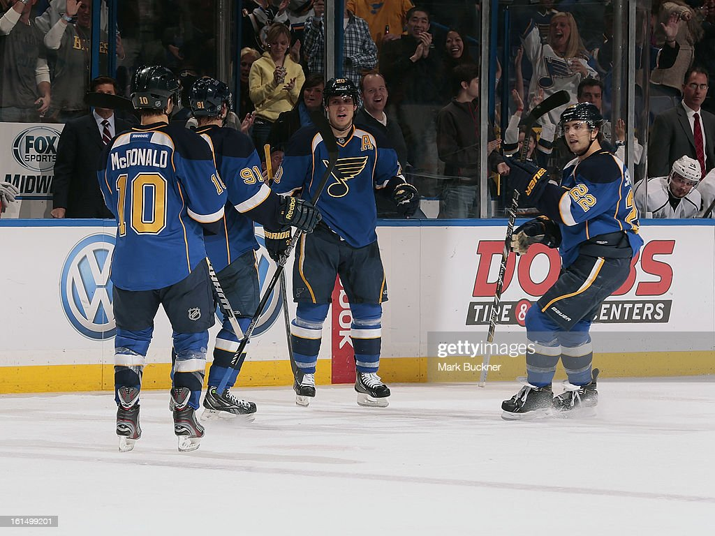 The St. Louis Blues celebrate a goal in an NHL game against the Los Angeles Kings on February 11, 2013 at Scottrade Center in St. Louis, Missouri.