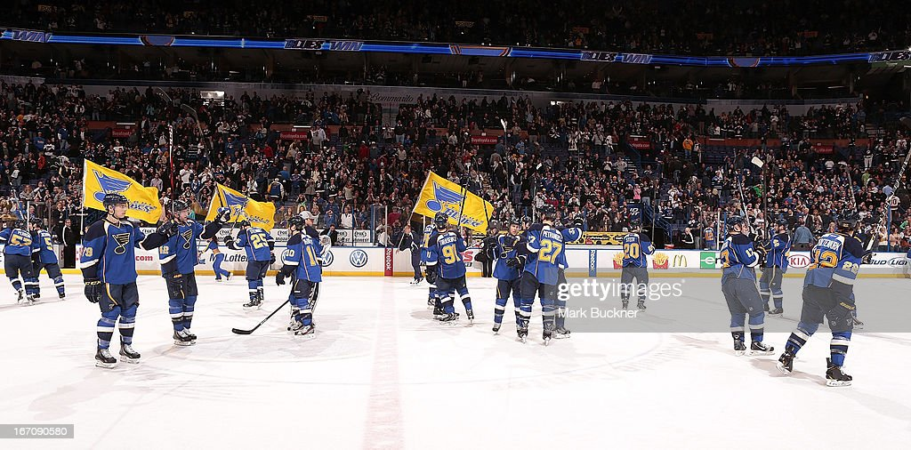 The St. Louis Blues celebrate a victory over the Dallas Stars after an NHL game on April 19, 2013 at Scottrade Center in St. Louis, Missouri.
