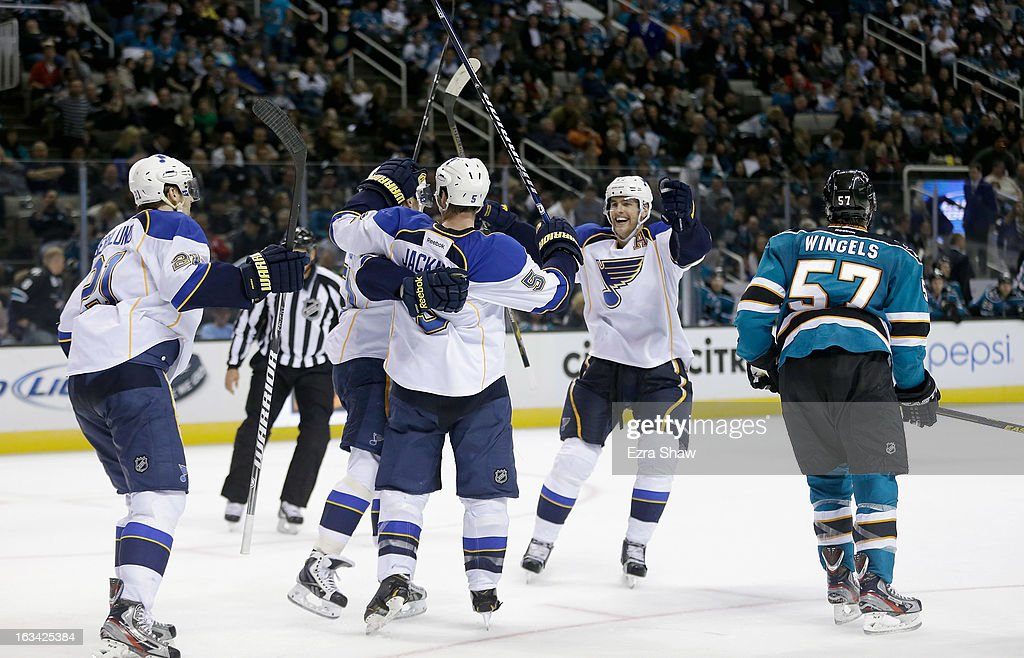 The St. Louis Blues celebrate after Patrik Berglund #21 scored an overtime goal to beat the San Jose Sharks at HP Pavilion on March 9, 2013 in San Jose, California.