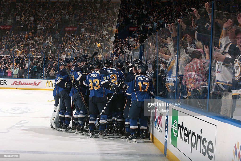 The St. Louis Blues celebrate their overtime victory over the Los Angeles Kings in Game One of the Western Conference Quarterfinals during the 2013 NHL Stanley Cup Playoffs on April 30, 2013 at Scottrade Center in St. Louis, Missouri.