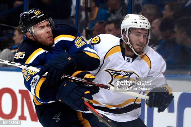 The St Louis Blues' Paul Stastny left tangles with the Nashville Predators' Colton Sissons during Game 1 of the Western Conference semifinals at...