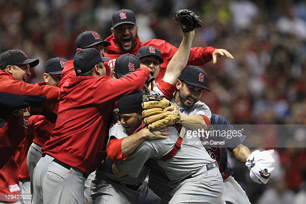 The St Louis Cardinals celebrate after they won 126 against the Milwaukee Brewers during Game Six of the National League Championship Series at...