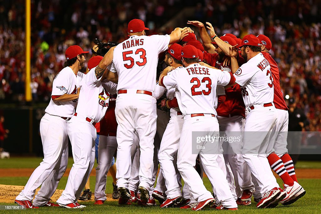 The St. Louis Cardinals celebrate defeating the Pittsburgh Pirates 6 to 1 in Game Five of the National League Division Series at Busch Stadium on October 9, 2013 in St Louis, Missouri.