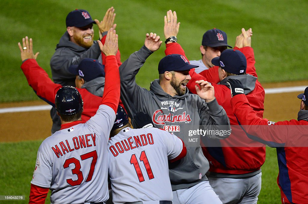 The St. Louis Cardinals defeated the Washington Nationals, 9-7, during Game 5 of the National League Division Series at Nationals Park in Washington, D.C., Friday, October 12, 2012.