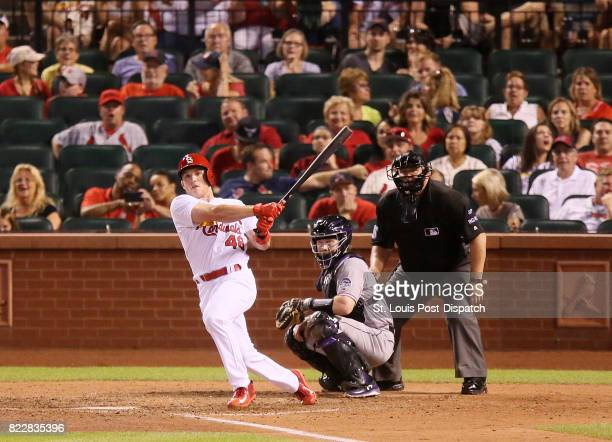 The St Louis Cardinals' Harrison Bader hits a double for his first career hit to lead off the bottom of the ninth inning against the Colorado Rockies...