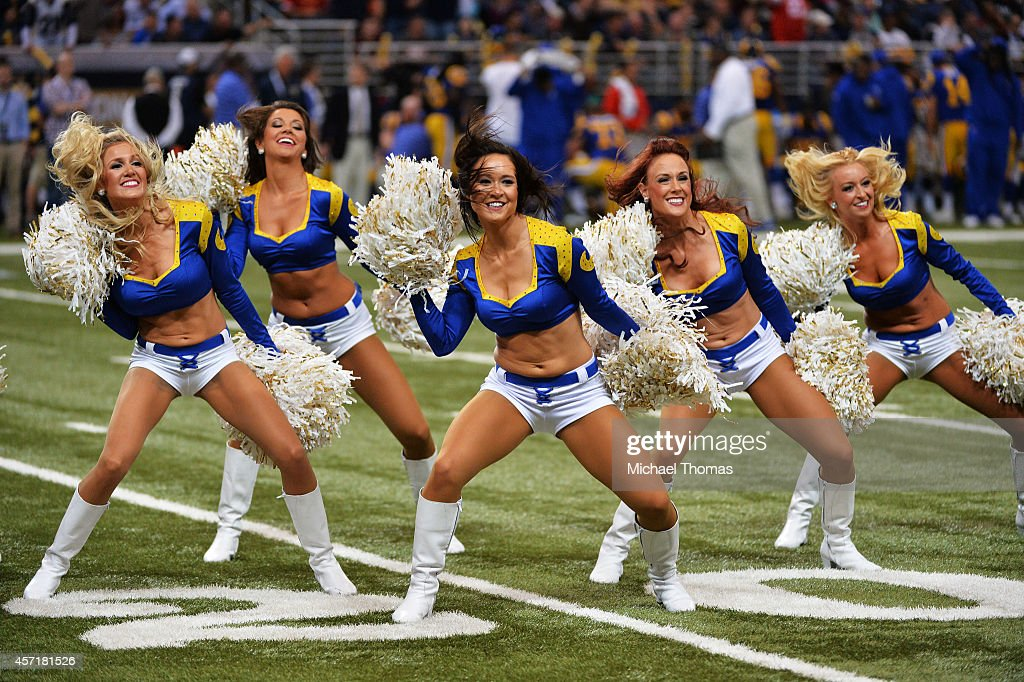 The St Louis Rams cheerleaders perform during their game against the San Francisco 49ers at Edward Jones Dome on October 13 2014 in St Louis Missouri