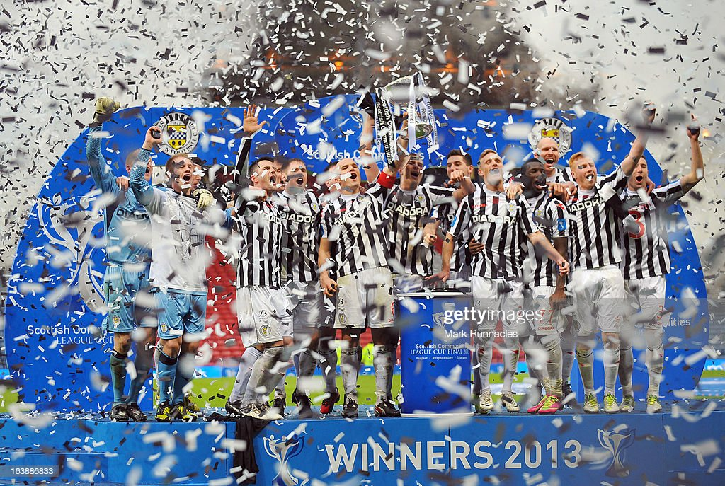 The St Mirren team celebrate after their sides triumph in the Scottish Communities League Cup Final between St Mirren and Hearts at Hampden Park on March 17, 2013 in Glasgow, Scotland.