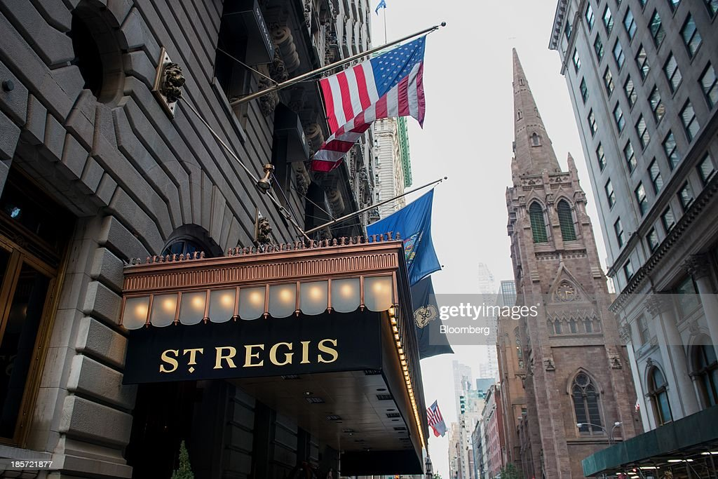 The St. Regis Hotel, a Starwood Hotels & Resorts Worldwide Inc. property, stands in New York, U.S., on Wednesday, Oct. 23, 2013. Starwood Hotels & Resorts Worldwide Inc., the owner of the Sheraton and W brands, rose the most in three months after it reported third-quarter earnings that beat estimates and forecast an increase in revenue growth for 2014. Photographer: Craig Warga/Bloomberg via Getty Images