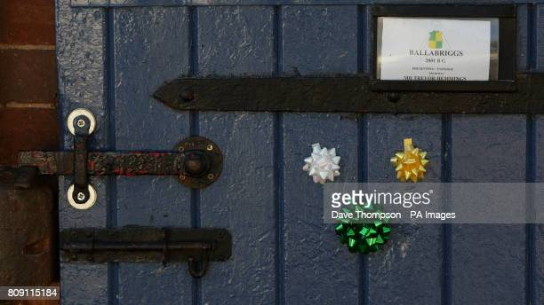 The stable door of Grand National winner Ballabriggs during a Homecoming Photocall at the stables in Malpas Cheshire PRESS ASSOCIATIOIN Photo Picture...