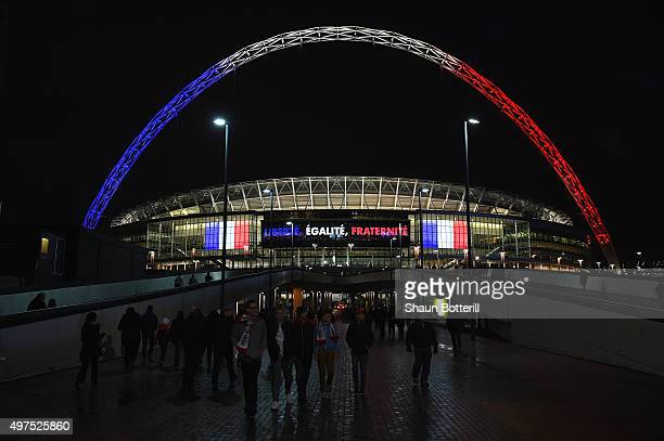 The stadium arch is lit up before the International Friendly match between England and France at Wembley Stadium on November 17 2015 in London England