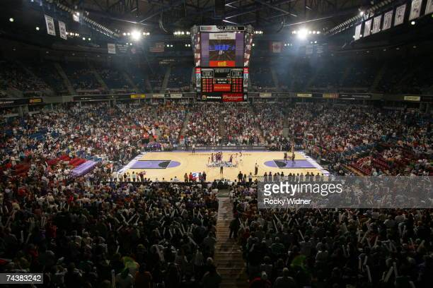 The stadium as seen on an opening night sellout for the Sacramento Monarchs against the Los Angeles Sparks game at ARCO Arena on June 2 2007 in...